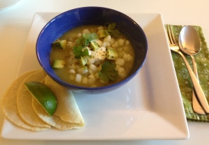 Pozole with Pumpkin Seed-Tomatillo Mole and Garnishes