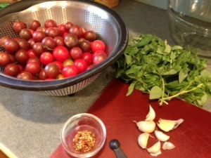 Tomatoes, garlic, basil and red pepper