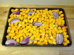 squash and onions pre-roasting